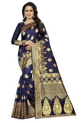 Navy Blue Women's Jacquard Silk Designer Saree With Blouse