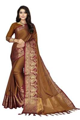 Mustard Color Soft Cotton Silk Heavy Border Saree With Blouse