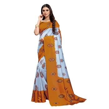 Grey  printed bhagalpuri silk saree with blouse