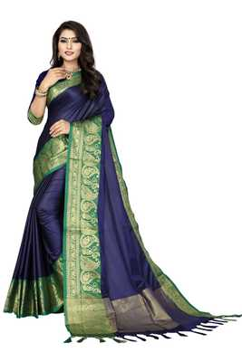 Blue color Soft cotton silk heavy border saree with blouse