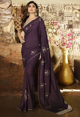 Purple embroidered fancy fabric saree with blouse