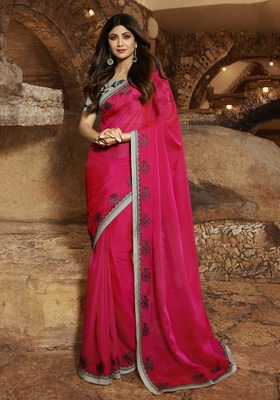 Pink embroidered fancy fabric saree with blouse