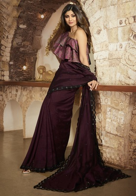 Wine embroidered fancy fabric saree with blouse
