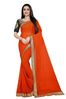 Orange printed chiffon saree with blouse