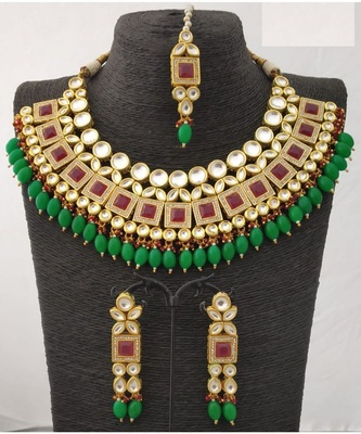 Gold Plated & Ruby Kundan Studded Green  Beaded Jewellery Set Bridal Jewellery Set