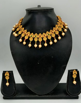 Women Gold-Plated Pink & Green Stone Studded Handcrafted Temple Jewellery Set