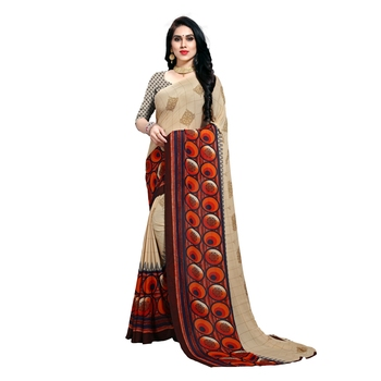 Cream printed georgette saree with blouse
