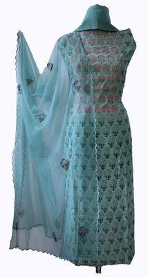 Soft Modal Sea Green Designer Suit Fabric