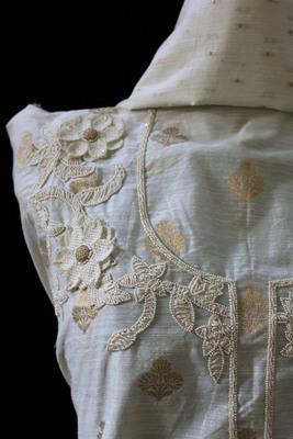 Off-White Embroidered Khaddi Designer Suit Fabric