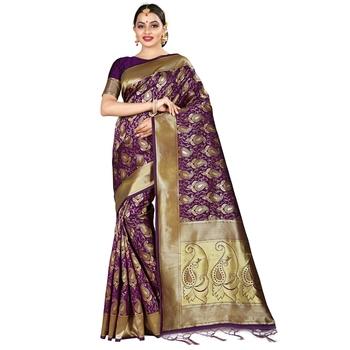 Purple printed silk blend saree with blouse