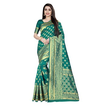 Green printed silk blend saree with blouse