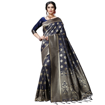 Blue printed silk blend saree with blouse