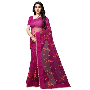 pink printed net saree with blouse
