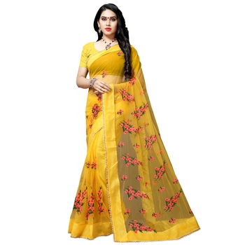 Yellow printed net saree with blouse