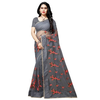Grey printed net saree with blouse