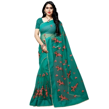 Green printed net saree with blouse