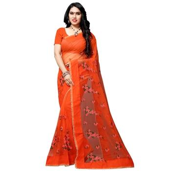 Orange printed net saree with blouse
