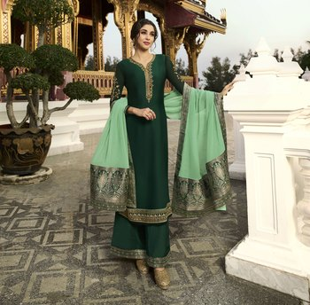 Dark Green Embroidered Georgette Salwar