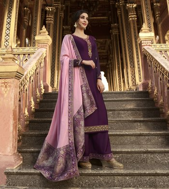 Dark-Purple Embroidered Georgette Salwar