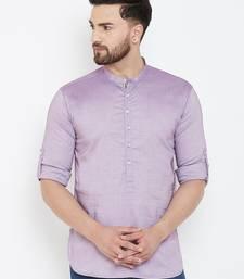 Purple plain pure cotton men-kurtas