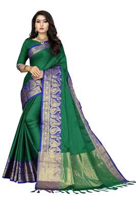 Perrot color Soft cotton silk heavy border saree with blouse