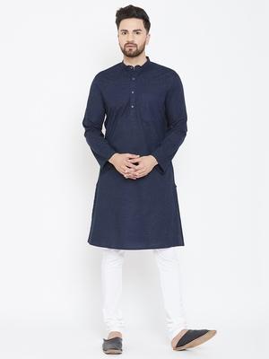 Blue plain pure cotton men-kurtas
