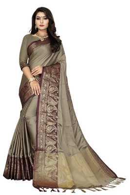 Chiku color Soft cotton silk heavy border saree with blouse