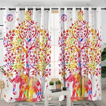 Indiancraft Beautiful Tree with Elephant Colorful Curtain for Living Room Window
