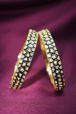 M Creation Black Meena Gold Plated Designer Bangles
