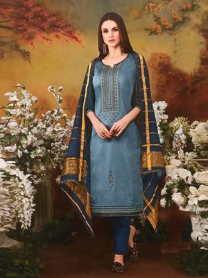 Light-blue embroidered silk salwar