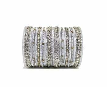 Silver zircon bangles-and-bracelets