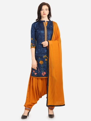 Blue Orange Cotton Printed Causal Wear Dress Material
