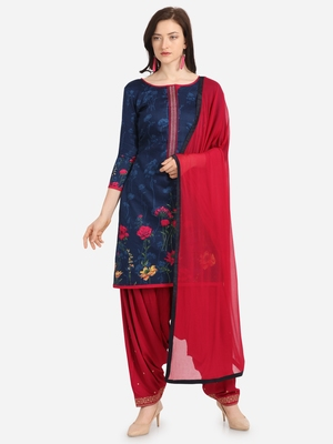 Blue Pink Cotton Printed Causal Wear Dress Material