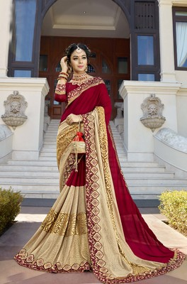 Designer Fancy Fabric  Saree With Maroon Colour Blouse
