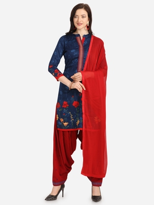 Blue Red Cotton Printed Causal Wear Dress Material