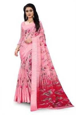 Light pink printed linen saree with blouse