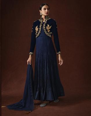 Navy-blue resham embroidery georgette salwar