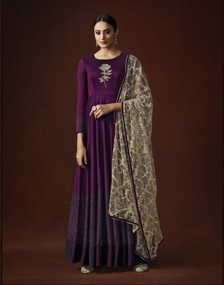 Wine resham embroidery georgette salwar