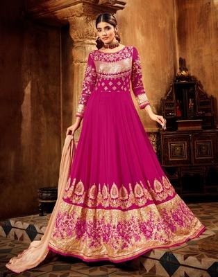 Rani-pink resham embroidery pure georgette salwar