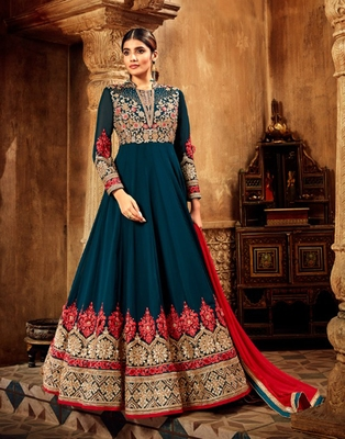 Blue resham embroidery pure georgette salwar