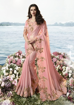 Baby pink embroidered pure tissue saree with blouse