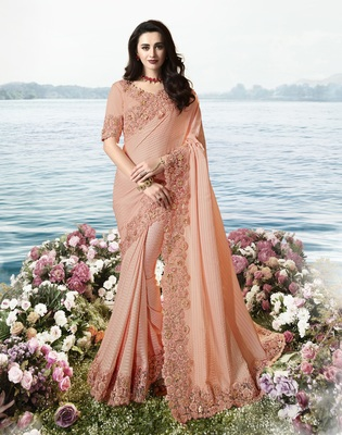 Light peach embroidered pure silk saree with blouse
