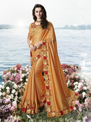 Peach Embroidered Pure Tissue Saree With Blouse
