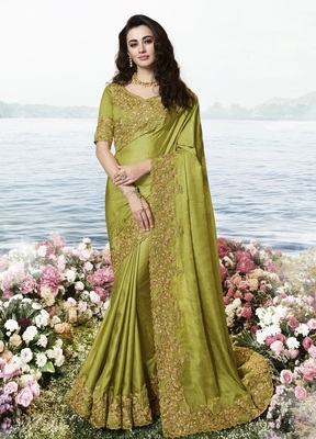 Olive embroidered pure silk saree with blouse