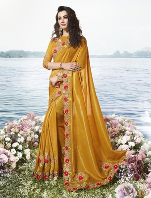 Mustard Embroidered Pure Tissue Saree With Blouse