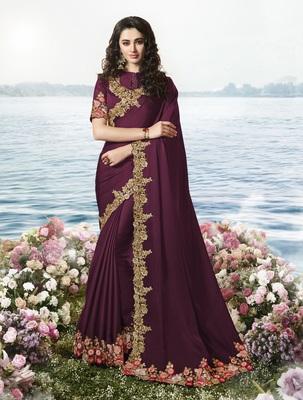 Dark Wine Embroidered Pure Silk Saree With Blouse