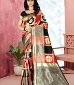 Buy Black Woven Banarasi Saree With Blouse