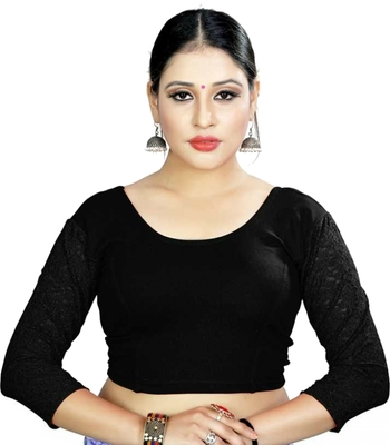 Black Lycra Stretchable Readymade Blouse for Women Long Sleeve