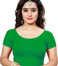 Green Stretchable Readymade Blouse for Women Short Sleeve
