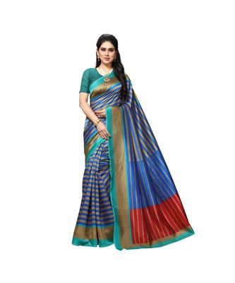 Blue printed bhagalpuri silk saree with blouse